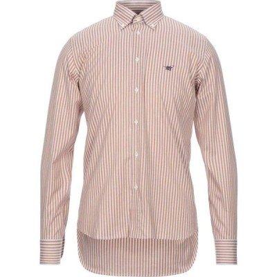 ヘンリーコットンズ HENRY COTTON'S メンズ シャツ トップス striped shirt Camel