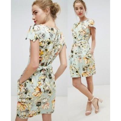 エイソス ASOS クローゼットロンドン キャップスリーブ 花柄 ドレス ワンピース 送料無料 レディース ファッション