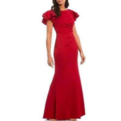 ジェシカハワード レディース ワンピース トップス Petite Ruffle Sleeve Side Tuck Long Gown Ruby Red