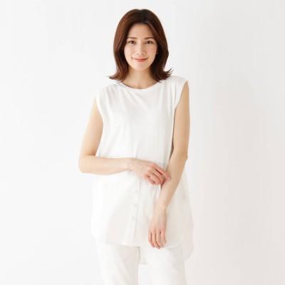シューラルー SHOO-LA-RUE 裾シャツレイヤード風タンクトップ (オフホワイト)