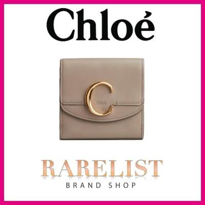 クロエ Chloe 財布 小財布 二つ折り モッティーグレー グレー ゴールド レザー 本革