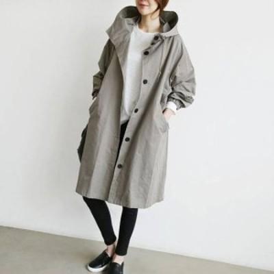 即納 コート ジャケット レディース アウター ミディ丈 モッズコート フード付き スプリングコート 大きいサイズ 4XL 韓国 トレンド 春新