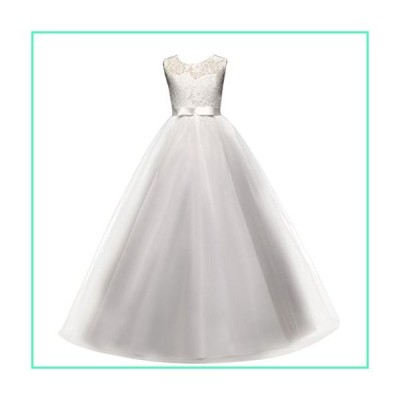 Big Girls Tulle Lace Dress Wedding Communion Evening Birthday Party Bowknot Dress Flower Girl Princess Dress White 8-9T並行輸入品
