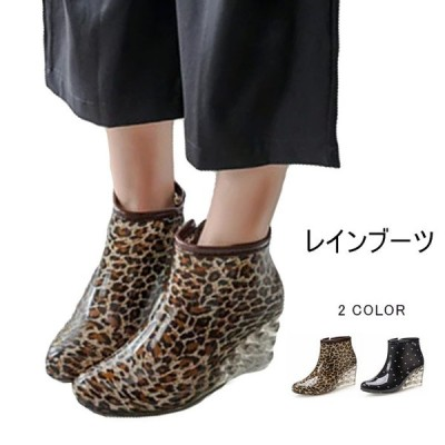 レインブーツ ショートブーツ レディース 女性用 防水ブーツ レインシューズ 雨靴 雨具 レインウェア レイングッズ 雨対策 太ヒール ヒョウ柄 ドット柄