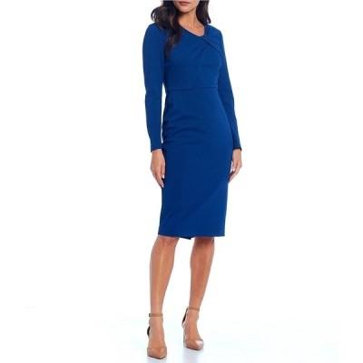 マギーロンドン レディース ワンピース トップス Pleated Twist Neck Long Sleeve Herringbone Stretch Crepe Sheath Dress Twilight Blue