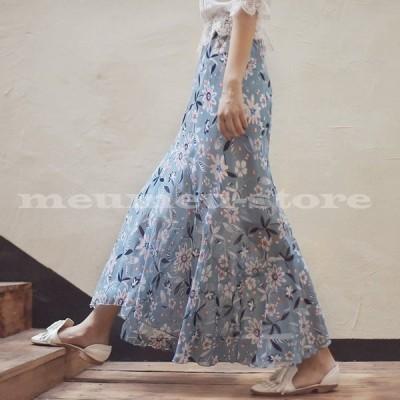 フレアスカート ロングスカート レディース 花柄 大花柄 フラワー 花 フレア フリル 大人可愛い 可愛い かわいい ボトムス レディーススカート ロ