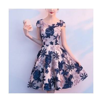 パーティドレス ワンピース きれいめ レディース40代 結婚式 韓国 30代 およばれ Aライン フレアスカート 膝丈 ミモレ丈 花柄 青 フォーマル 上品
