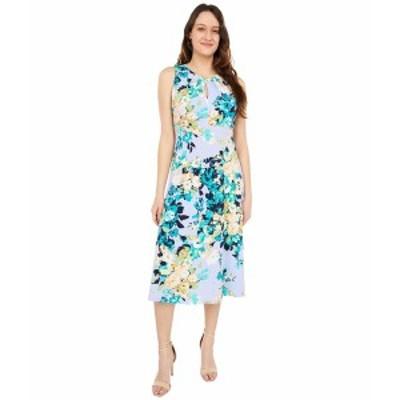 ロンドンタイムス レディース ワンピース トップス Impressionist Floral Print Pleat Neck Midi Dress Lilac/Green
