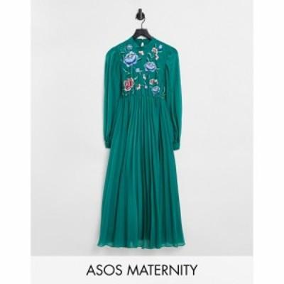 エイソス ASOS Maternity レディース ワンピース ASOS DESIGN Maternity high neck pleated long sleeve skater midi dress with embroid