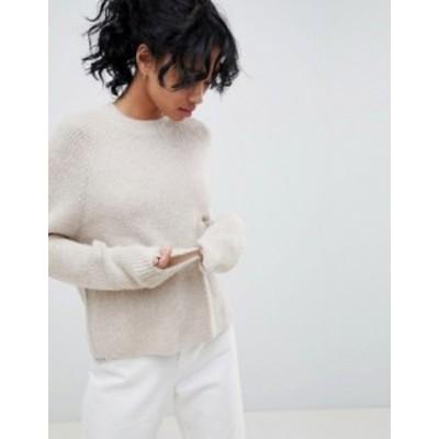 エイソス レディース ニット・セーター アウター ASOS DESIGN fluffy sweater in rib Oatmeal