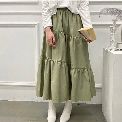 【ANDSTYLE】韓国ファッション/コットン ティアードフリルロングスカート(ウエストゴム仕様)/落ち着いた上品な色味 洗練されたシルエットのティアードフリルロングスカート_244718