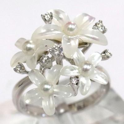 K18WG シェルフラワー パール ダイヤモンド リング