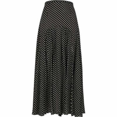 リキソ Rixo レディース ひざ丈スカート スカート Claire Polka-Dot Pleated Cotton-Blend Midi Skirt Black