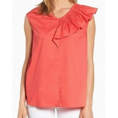 ファッション トップス Halogen NEW Pink Womens Size Medium M Ruffled Smoked Shoulder Blouse