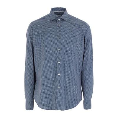WEBB & SCOTT CO. 柄入りシャツ  メンズファッション  トップス  シャツ、カジュアルシャツ  長袖 ダークブルー