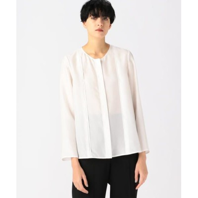 TOMORROWLAND/トゥモローランド パウダリーシルク フロントタックシャツ 11 ホワイト 36(9号)