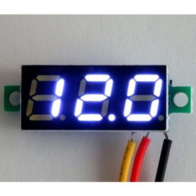ミニサイズ デジタル電圧計 3線式 【0.00V-99.9V】