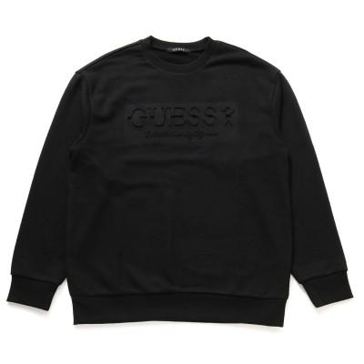 ゲス GUESS Emboss Logo Sweat (BLACK)