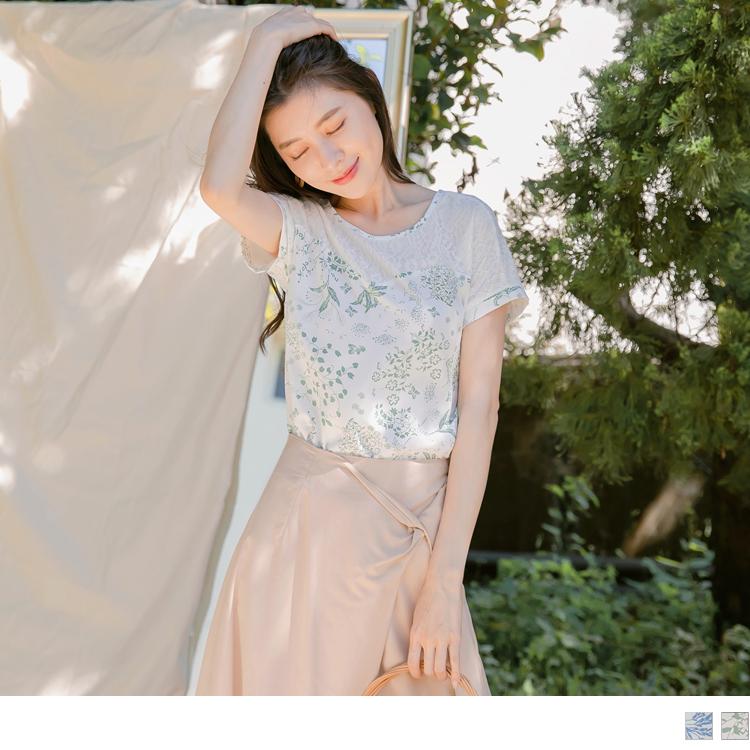 優雅滿版印花蕾絲拼接連袖短袖上衣