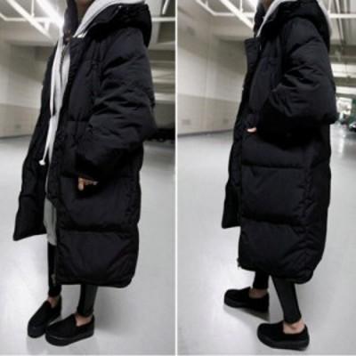 ダウンジャケット レディース 大きいサイズ ロング丈 ゆったり ブラック ビッグシルエット オーバサイズ レディースアウター 秋 冬 韓国