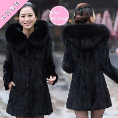 毛皮コート レディース アウター フード付き 帽子付き ファーコート エレガント 防寒 ロング丈 スリム おしゃれ 大きいサイズ 送料無料