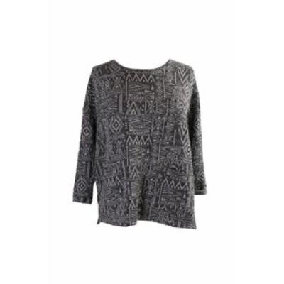 Marled  ファッション トップス Style & Co. Black Marled Jacquard Cuffed-Sleeve Sweater S
