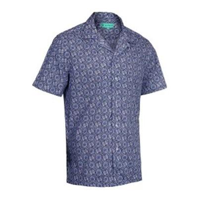 ミオマリオ メンズ シャツ トップス Men's Hawaiian Print Cotton Dress Shirts Royal Blue