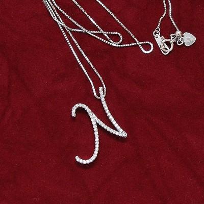 イニシャルネックレス「N」 K18WG ホワイトゴールド VSクラス ダイヤモンド ベネチアンチェーン