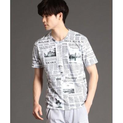 【ハイダウェイニコル】 ニュースペーパープリントTシャツ メンズ 09ホワイト 46(M) HIDEAWAYS NICOLE