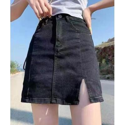 SPIGA / 裾ワンスリットインナーパンツ付デニムミニスカート WOMEN スカート > デニムスカート