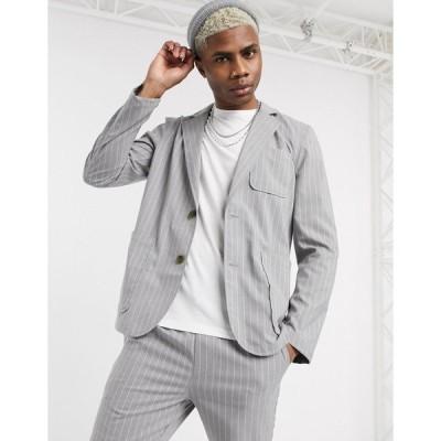 エイソス メンズ ジャケット&ブルゾン アウター ASOS DESIGN soft tailored blazer with square pockets in gray pinstripe Grey