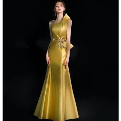 イブニングドレス マーメイドライン イエロー 花柄 ロングドレス 誕生日会 成人式 演奏会 パーティー 結婚式 二次会