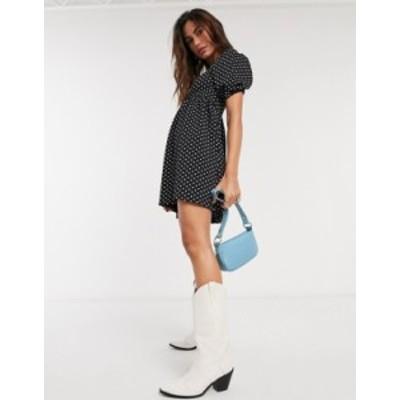 トップショップ レディース ワンピース トップス Topshop baby doll mini dress in monochrome polkadot Black