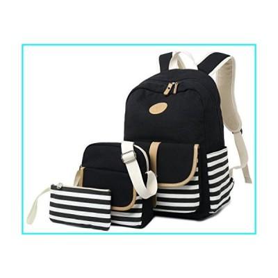 女の子のための学校のバックパック、Gazigo Womens High School College Bookbagsラップトップバッグ(ブラック)