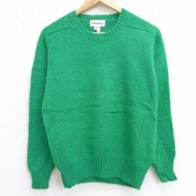 古着 レディース 長袖 セーター 90年代 90s ラグラン シェットランドウール クルーネック デッドストック 緑 グリーン 中古 ニット トッ