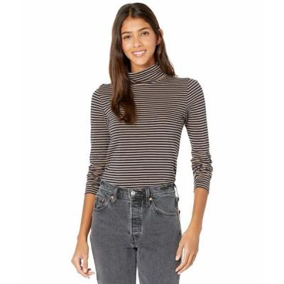 ジェイクルー シャツ トップス レディース Tissue Turtleneck T-Shirt in Stripes Navy/Camel Stripe