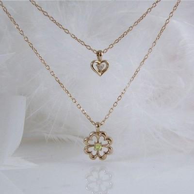 ペリドット 8月誕生石 ダイヤモンド 四葉クローバー&ハートのダブルチェーンネックレス K18PG 納期21日位  誕生日 プレゼント