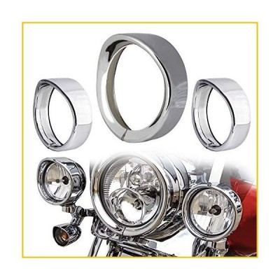 """NTHREEAUTO Chrome Motorcycle Lights Frenched Ring Kit Compatible with Harley, 7"""" Headlight Trim Ring Decorate Visor + 4 1/2"""" Fog Light Trim"""