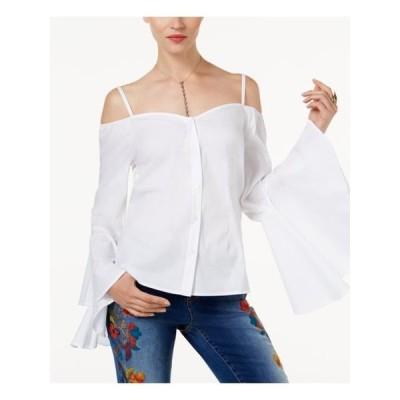 レディース 衣類 トップス INC Womens White Long Sleeve Square Neck Button Up Top Size: XS ブラウス&シャツ