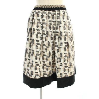 トゥービーシック スカート ツイード フレア 総柄 40