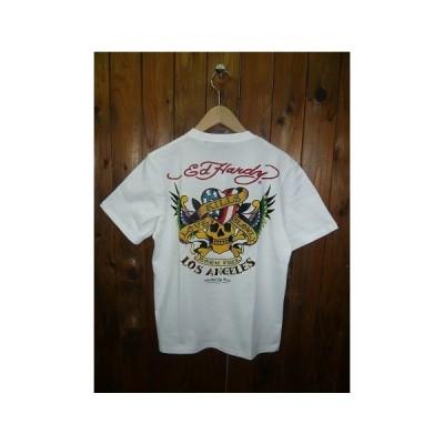 Ed Hardyエドハーディー 02KH03-01 S/S PRINT T-SHIRT プリント入り 半袖 Tシャツ 星条旗 アメリカン スカル ドクロ ラブキル メンズ