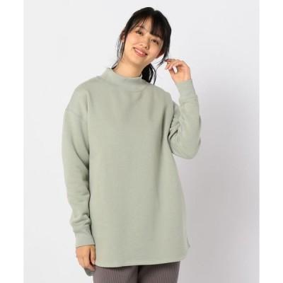 tシャツ Tシャツ 裏毛モックネックチュニックカットソー