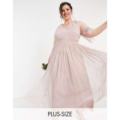 アナヤ ドレス 大きいサイズ レディース Anaya With Love Plus Bridesmaid tulle flutter sleeve maxi dress in pink エイソス ASOS ピンク