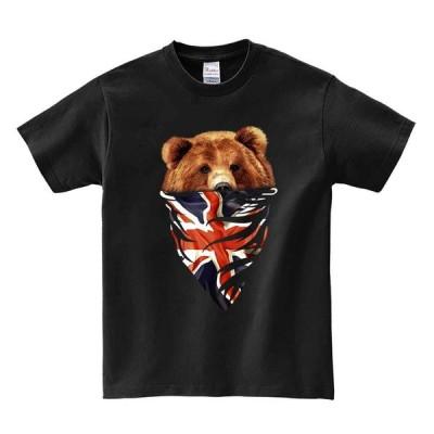 【グリズリーベア・熊・クマ・ユニオンジャック・イギリス】メンズ 半袖 Tシャツ ブラック