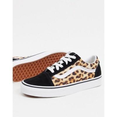 バンズ レディース スニーカー シューズ Vans Old Skool sneakers in leopard print Leopard blacktrue