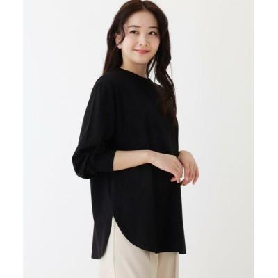 SHOO・LA・RUE/シューラルー SUPIMA ボリューム袖ラウンドヘムTシャツ ブラック(019) 02(M)