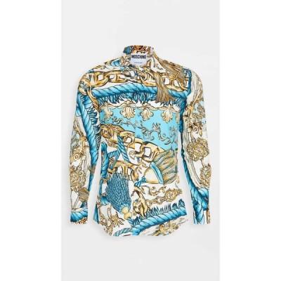 モスキーノ Moschino メンズ シャツ トップス baroque printed button down shirt Blue