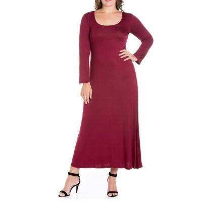 24セブンコンフォート ワンピース トップス レディース Women's Plus Size Maxi Dress Wine