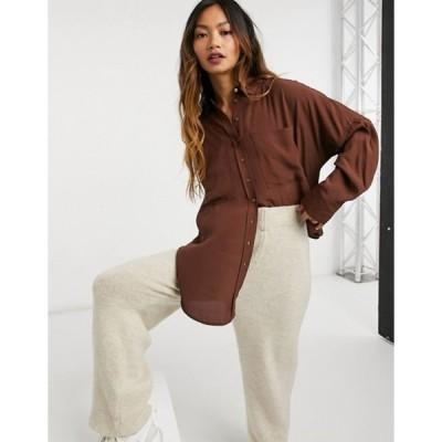 マンゴ レディース シャツ トップス Mango double pocket oversized shirt in chocolate brown