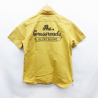 【中古】クーティー COOTIE ワーク シャツ S 半袖 ストライプ バック刺繍 黄色 イエロー 紺 ネイビー 日本製 メンズ
